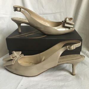Enzo Anglioni Kitten Heel Patent Leather Peep Toe